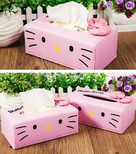 New Cute PU Leather Hello Kitty Bedroom Office Tissue Box Case Covers Holder
