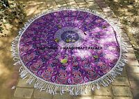 Hippie Indian Mandala Round Roundie Beach Throw Rug Boho Tapestry Yoga Mat 72""