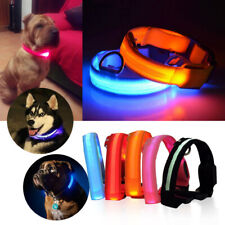 USB Rechargable LED Dog Pet Collars Safety Light Up Nylon Collars New Luminous