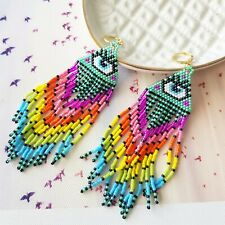 Rainbow Bead Third Evil Eye Protection Tassel Dangle Statement Fashion Earrings