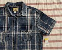 Sears Roebuck & Co Button Up Young Mens Small Blue Indigo Plaid Striped Shirt