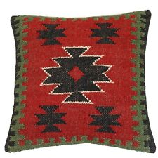 18x18 Wool Jute Cushion Cover Handmade Vintage Hippie Outdoor Pillow Throw Case