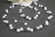 Perlen Schmuckset 3-teilig weiß / schwarz  Collier - Armband - Ohrringe  NEU