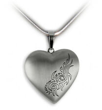Medallion Heart Tribal with chain Stainless steel for 2 Photos Pendant Jewelry