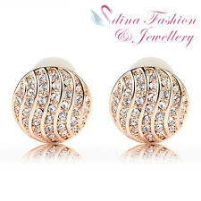 18K Rose & White Gold GP Made With Swarovski Crystal Round French Clip Earrings