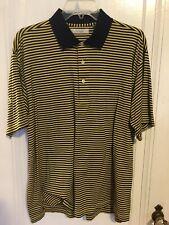 Turnbury 100% cotton short sleeve Yellow blue striped polo Golf shirt