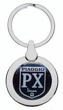 VESPA PIAGGIO SCOOTER BLACK LOGO CHROME METAL POLISHED SILVER COLOUR KEYRING