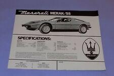 * ORIGINAL  * 1973-1975  *  MASERATI  *  MERAK SS  *  SALES FLYER / HANDBILL *