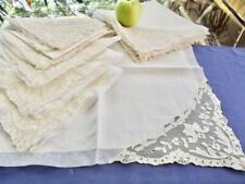"""Set 12 Vintage Creamy Linen 20"""" Fancy  Banquet Napkins Alencon Lace Organza Trim"""