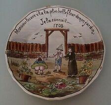 Rare assiette humoristique faïence Nevers la plus belle fleur de mon jardin XIXè