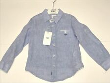 Armani Kids Boys NEW LINEN DRESS LOGO SHIRT w/ WHITE TRIM Sz: 3 RTL: $140 P920