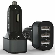 7.2A 36W Triple USB Car Charger with SmartQ Charge Ports fr iPhone iPad iPod BLK