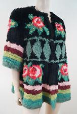 MANOUSH Femme Noir & Multicolore Floral Imprimé Fourrure de lapin veste FR40; UK12