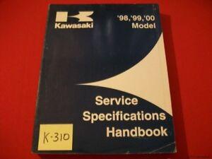 KAWASAKI SERVICE SPECIFICATIONS HANDBOOK FOR MOTORCYCLES #99926-1031-01 1998-00