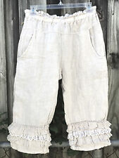 SHABBY MAGNOLIA eyelet PANTS pearl color bloomers FLAX LINEN Gypsy White XS/ S