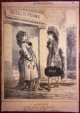 CHAM Lithographie Le Charivari Caricature XIXe Hotel de France 1877