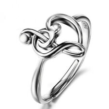 925 Sterling Silver Music Note Adjustable Heart Love Music Ring For Women