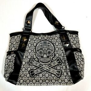 Loungefly Black And White Sugar Skull Purse Day of the Dead Cross Bones 18x13