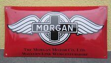 Emailschild Morgan Motor Co. Rot/Schwartz/Grau Grösse 50X25cm gekrümmt