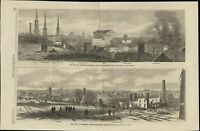 Richmond Virginia Ruins Neighborhoods Burning 1865 antique wood engraved print
