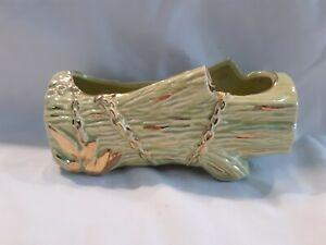 Vintage McCoy Shafer Gold lined Green Log Porcelain Ceramic Planter 23K Gold EUC