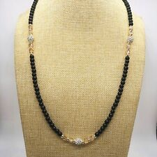 Black Glass Bead and Rhinestone Bead Stretch Necklace