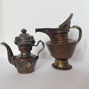 Two 19th Century Tibetan Miniature Copper Bronze Ewer Teapot Kettle Tea Pot