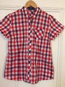 NEW!!! Was $130 Red/White/Purple Gingham Fred Perry Gingham Womens Shirt Size 8