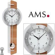 Ams Radio Orologio da parete con pendolo a Durame di Faggio/alluminio legno