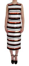 NEW DOLCE & GABBANA Dress Multicolored Striped Sequined Stretch IT42/US8/M