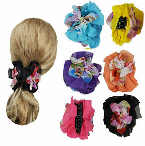 6 Hair Clip Jaws Comb with Flowers for Women Girl Hair Claw Clip Assorted  3""