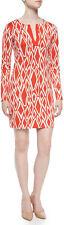 Diane von Furstenberg Coral White Ikat Stamp Reina L/S Silk Dress $348 NWT 10