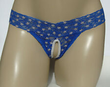 Blue Lace Open Front Thong SISSY panties size S