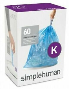simplehuman BIN LINERS 35-45L 60-Pieces Code-K Thick Double Seams, Drawstring