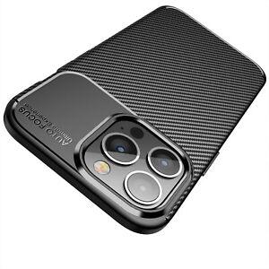 iPhone 13 Pro Hülle Schutzhülle Silikon TPU Slim Case Schwarz Carbon Optik