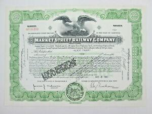 1951 Market Street Railway Company San Francisco CA Stock Certificate 10 Shares