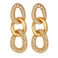Crystal Dangle Earrings 18K Gold Plated Circle Link Earrings Women Drop Earrings