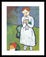 Pablo Picasso L`enfant au pigeon Poster Kunstdruck im Alu Rahmen schwarz 50x40cm