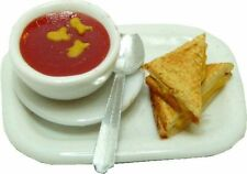 Dollhouse Miniature Tomato Soup & Grilled Cheese Sandwich Dollhouse Food