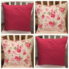 """Set 4 Cath Kidston White Rosali Floral Red Spot 16"""" Cushion Covers Shabby Chic"""