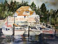 "ORIGINAL ART Watercolor Painting Boats Joan Perry (1928-2019) 24""w X 18""h"