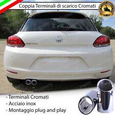 COPPIA TERMINALE SCARICO CROMATO LUCIDO ACCAIO INOX VW SCIROCCO SCARICO DOPPIO
