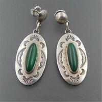 Vintage handgemachte 925 Silber vergoldet grünes Glas Hochzeit Ohrringe Schmuck