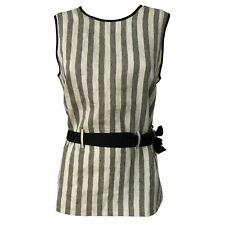 Top donna lino con cintura righe ecru/grigio ETiCi art C1/9668 MADE IN ITALY