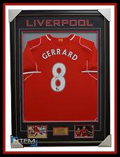 Steven Gerrard SIGNED 2015 Liverpool Captain No.8 Jersey Framed Private Signing