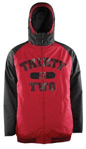 SMALL Thirty Two Bradshaw 32 Sesh Snowboard Men's Jacket Black Red NEW