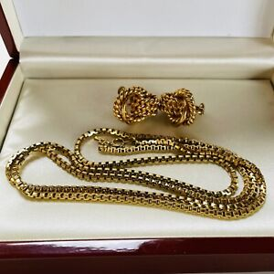 VINTAGE JEWELLERY CROWN TRIFARI GOLD PLATED LONG NECKLACE & NAPIER EARRINGS