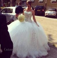 Princess Luxury Wedding Dress Sweetheart Shinning Crystal Long Tulle Bridal Gown