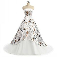 White Camo Weddind Dresses Real Ball Gown Tulle Camouflage Lace Up Bridal Gowns