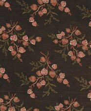 Deep Brown, Tan & Red Leaf Bouquets Antique Fabric